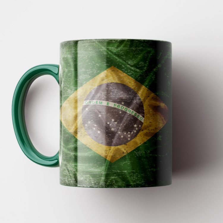 Caneca Bandeira do Brasil Vintage - Porcelana 325ml