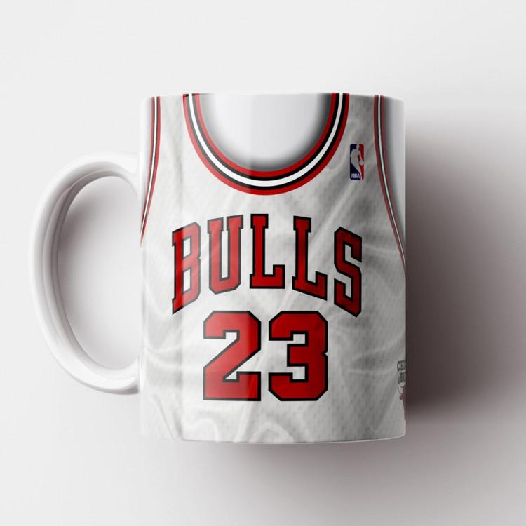 Caneca NBA Chicago Bulls - Camisa Branca Retrô - Michael Jordan - Porcelana 325ml