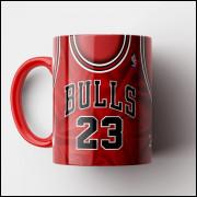 Caneca NBA Chicago Bulls - Camisa Vermelha Retrô - Michael Jordan - Porcelana 325ml