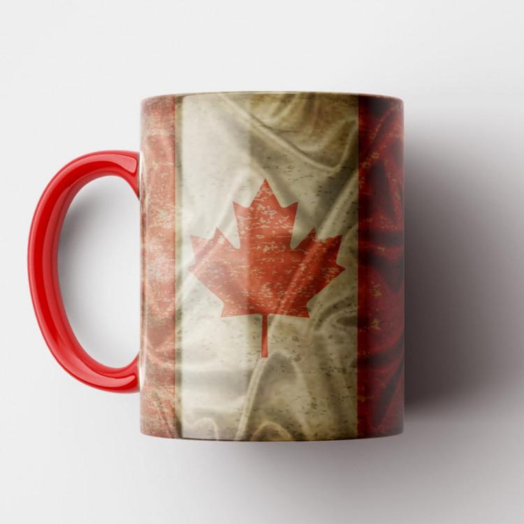Caneca Bandeira do Canadá Vintage - Porcelana 325ml