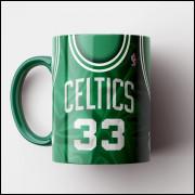 Caneca NBA Boston Celtics - Camisa Verde Retrô - Larry Bird - Porcelana 325ml