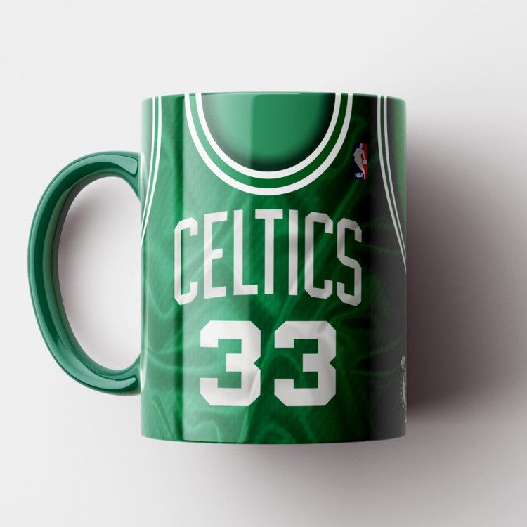 Caneca NBA Boston Celtics - Camisa Verde Retrô - Larry Bird - Porcelana 325ml