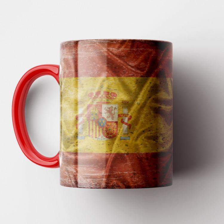 Caneca Bandeira da Espanha Vintage - Porcelana 325ml