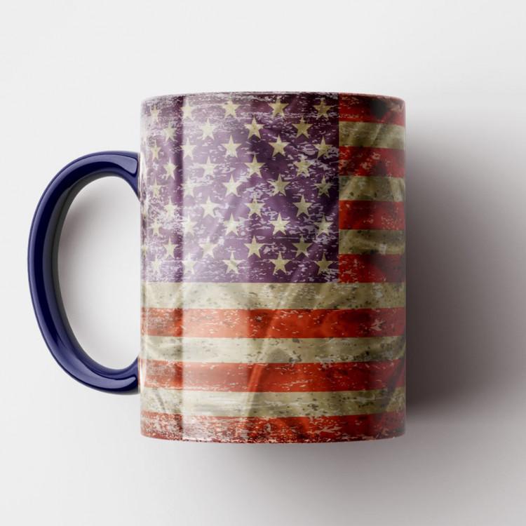 Caneca Bandeira dos Estados Unidos Vintage - Porcelana 325ml
