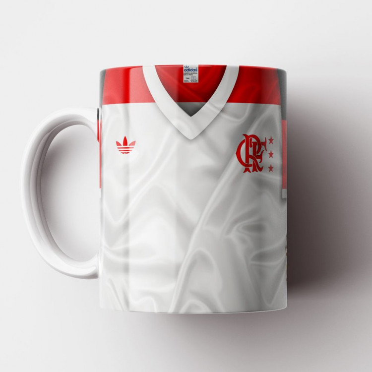 Caneca Flamengo - Camisa Branca - Campeão Mundial 1981 - Porcelana 325ml
