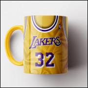 Caneca NBA Los Angeles Lakers - Camisa Amarela Retrô - Magic Johnson - Porcelana 325ml