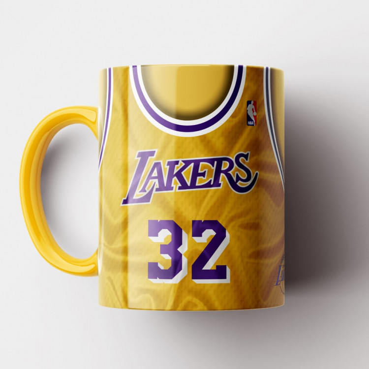 Caneca NBA Los Angeles Lakers - Camisa Amarela Retrô - Magic Johnson - Porcelana 325ml