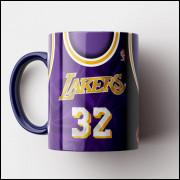 Caneca NBA Los Angeles Lakers - Camisa Azul Retrô - Magic Johnson - Porcelana 325ml