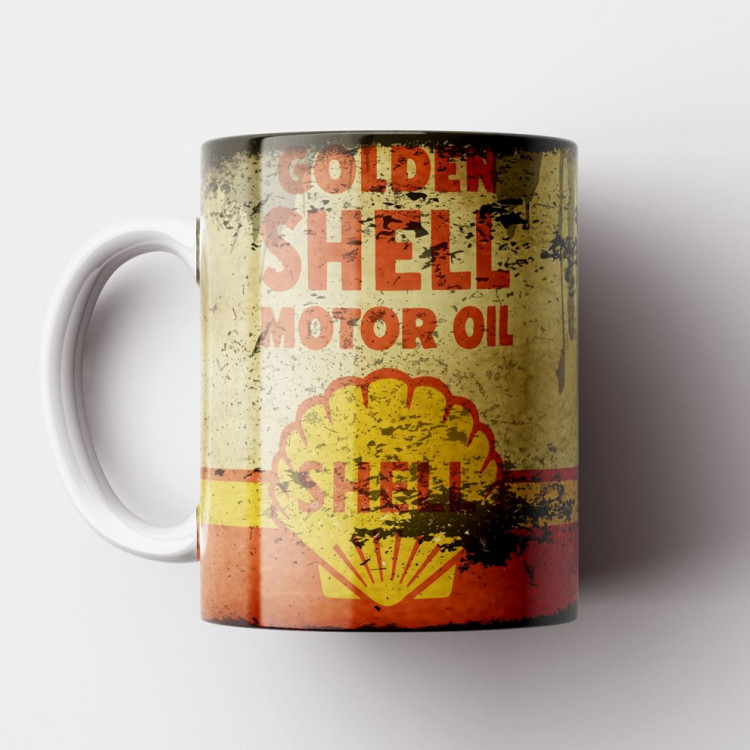 Caneca Óleo Shell Retrô - Porcelana 325ml