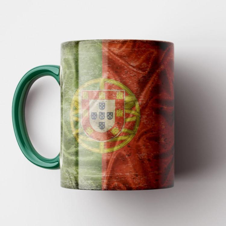 Caneca Bandeira de Portugal Vintage - Porcelana 325ml