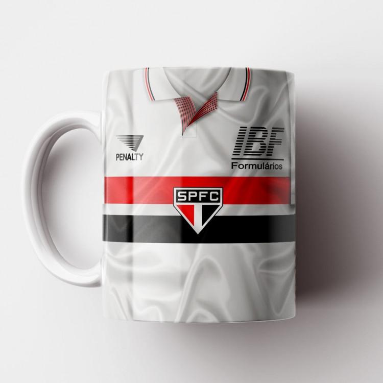 Caneca São Paulo FC - Camisa Branca - Campeão da Libertadores 1992 - Porcelana 325ml