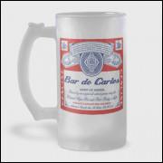Caneca de Chopp Personalizada - Budweiser - Vidro Jateado 475ml