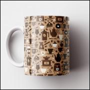 Caneca Cantinho do Café Retrô - Brown Coffee - Porcelana 325ml