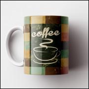 Caneca Cantinho do Café Retrô - Tile Coffee - Porcelana 325ml