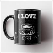 Caneca Cantinho do Café Retrô - I Love Coffee - Porcelana 325ml