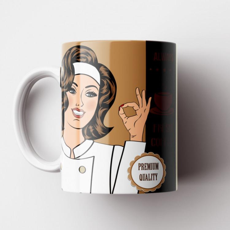 Caneca Cantinho do Café Retrô - Coffee Premium Quality - Porcelana 325ml