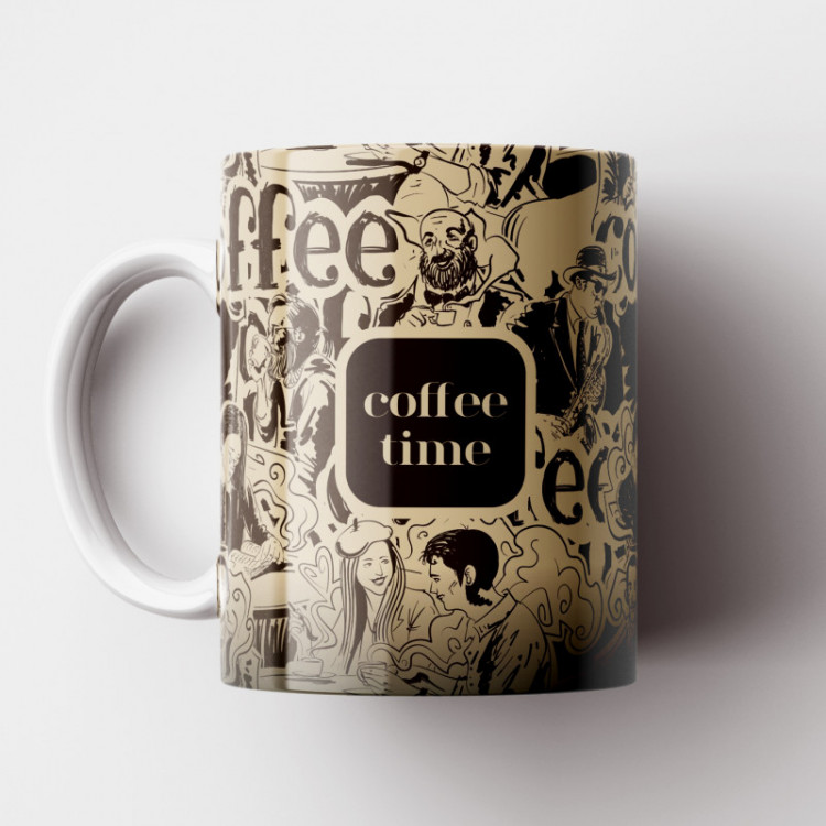Caneca Cantinho do Café Retrô - Coffee Time - Porcelana 325ml