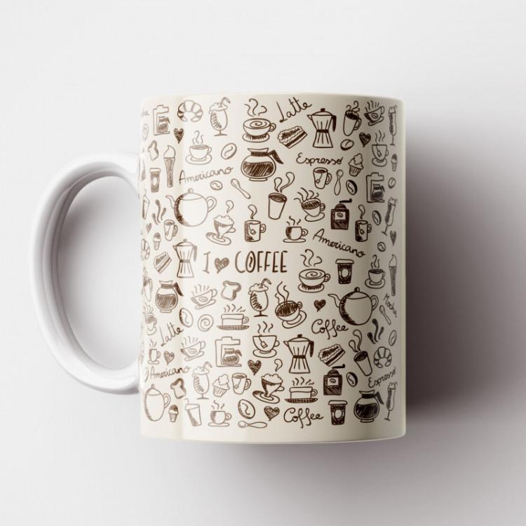 Caneca Cantinho do Café Retrô - Beige Coffee - Porcelana 325ml