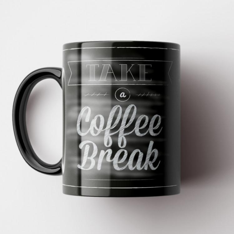 Caneca Cantinho do Café Retrô - Take a Coffee Break - Porcelana 325ml