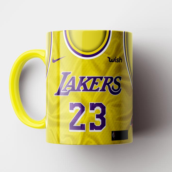 Caneca NBA Los Angeles Lakers - Camisa Amarela 2018/19 - Porcelana 325ml