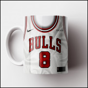 Caneca NBA Chicago Bulls - Camisa Branca 2018/19 - Porcelana 325ml