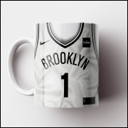 Caneca NBA Brooklin Nets - Camisa Branca 2018/19 - Porcelana 325ml