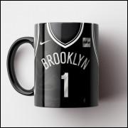 Caneca NBA Brooklin Nets - Camisa Preta 2018/19 - Porcelana 325ml