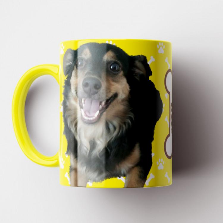 Caneca My Dog - Amarela (Personalizada com foto e nome do seu Pet) - Porcelana 325ml
