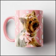 Caneca My Dog - Rosa (Personalizada com foto e nome do seu Pet) - Porcelana 325ml