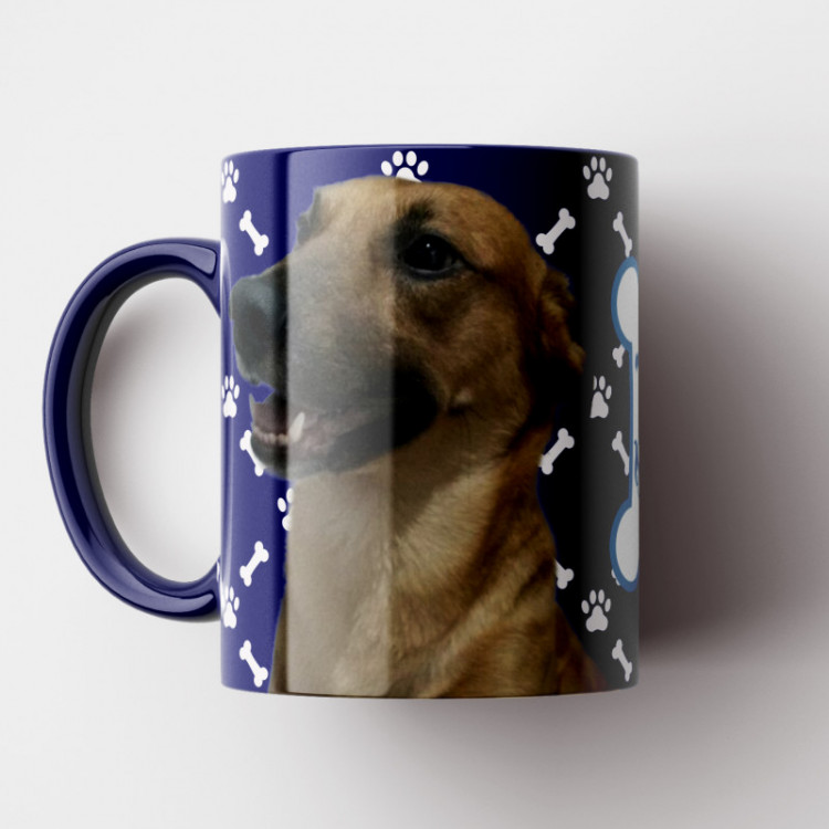 Caneca My Dog - Azul Marinho (Personalizada com foto e nome do seu Pet) - Porcelana 325ml