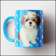 Caneca My Dog - Turquesa (Personalizada com foto e nome do seu Pet) - Porcelana 325ml