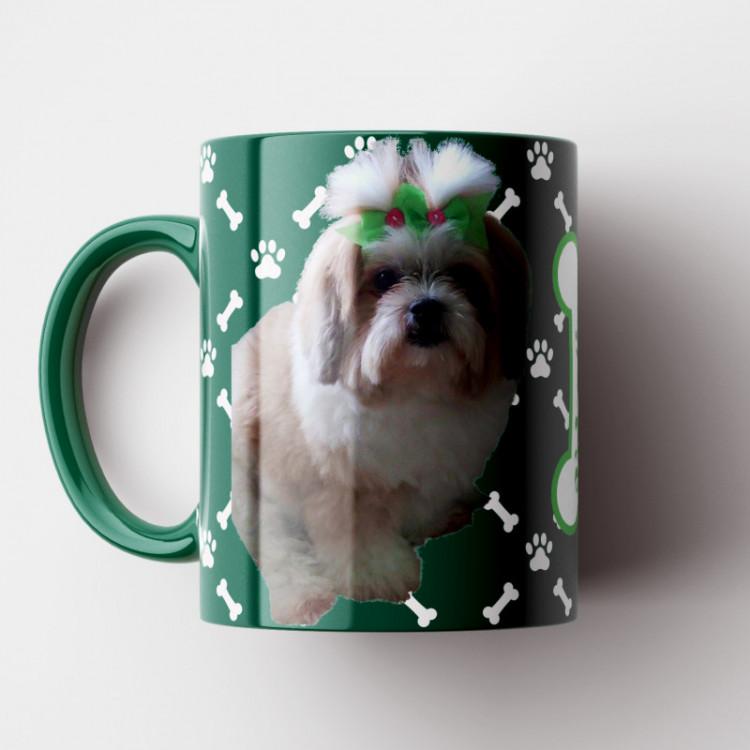 Caneca My Dog - Verde (Personalizada com foto e nome do seu Pet) - Porcelana 325ml