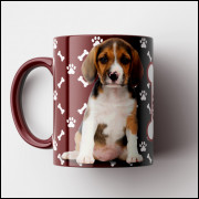 Caneca My Dog - Vinho (Personalizada com foto e nome do seu Pet) - Porcelana 325ml