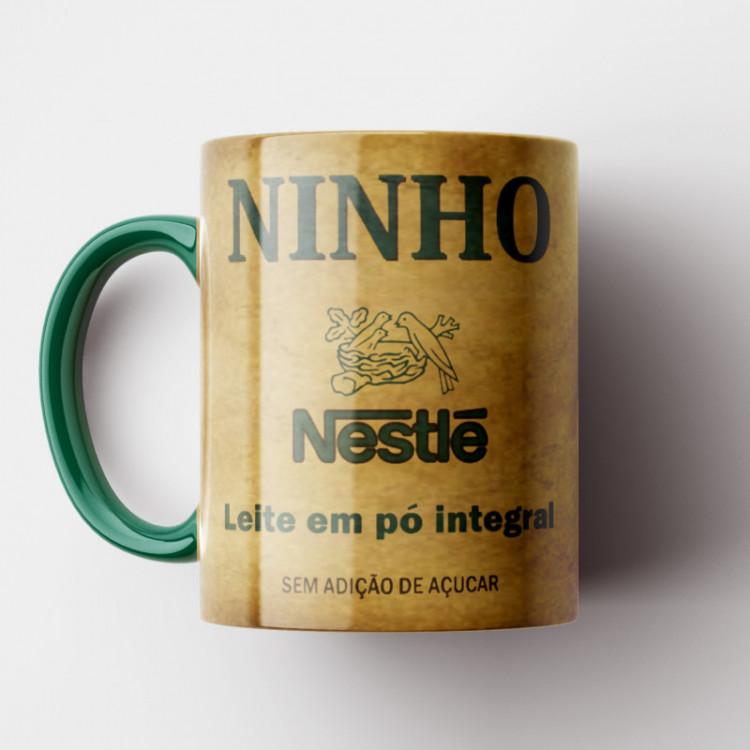 Caneca Leite Ninho Vintage - Coleção Marcas Inesquecíveis - Porcelana 325ml