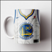 Caneca NBA Golden State Warriors - Camisa Branca 2018/19 - Porcelana 325ml