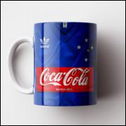 Caneca Cruzeiro - Camisa 1989 - Adidas / Coca-Cola - Porcelana 325ml