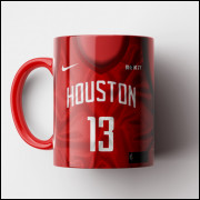 Caneca NBA Houston Rockets - Camisa Vermelha Alternativa 2018/19 - Porcelana 325ml
