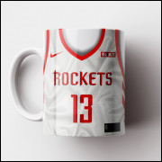 Caneca NBA Houston Rockets - Camisa Branca 2018/19 - Porcelana 325ml