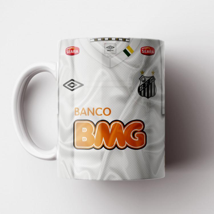 Caneca Santos - Camisa Branca - Campeão da Libertadores 2011 - Porcelana 325ml