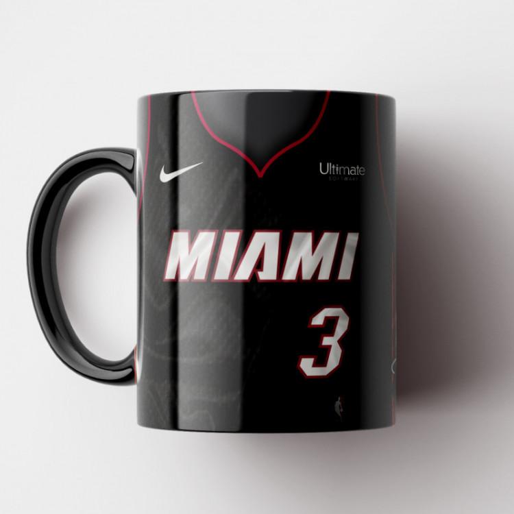 Caneca NBA Miami Heat - Camisa Preta 2018/19 - Porcelana 325ml
