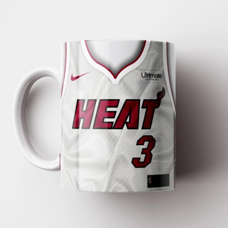 Caneca NBA Miami Heat - Camisa Branca 2018/19 - Porcelana 325ml