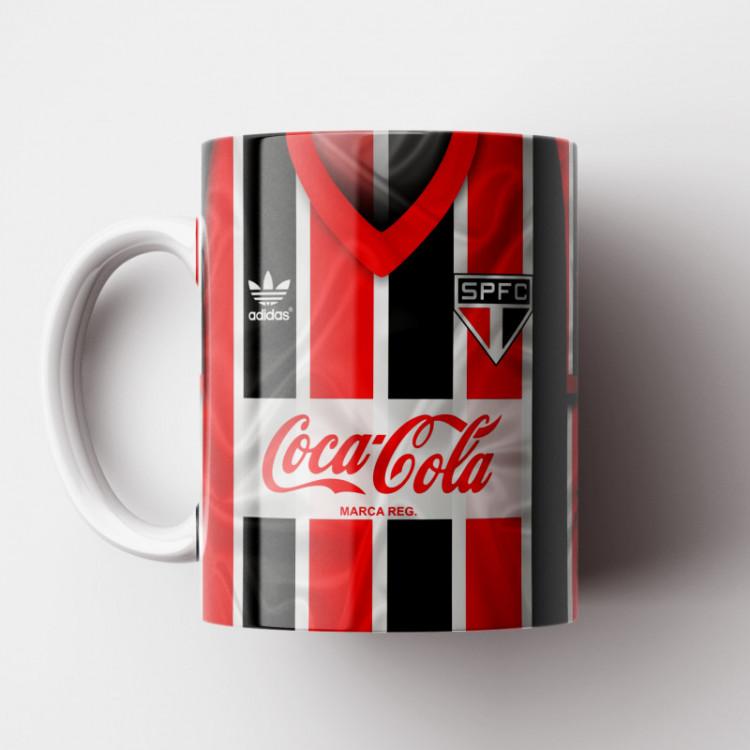 Caneca São Paulo FC - Camisa Listrada 1989 - Adidas / Coca-Cola - Porcelana 325ml