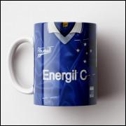 Caneca Cruzeiro - Camisa Azul - Campeão da Libertadores 1997 - Porcelana 325ml