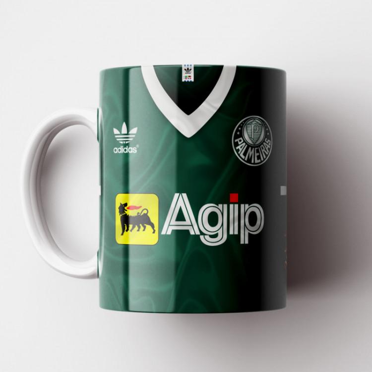 Caneca Palmeiras - Camisa 1988 - Adidas / Agip - Porcelana 325ml