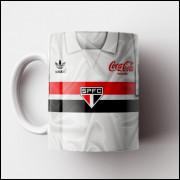 Caneca São Paulo FC - Camisa Branca 1989 - Adidas / Coca-Cola - Porcelana 325ml