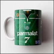 Caneca Palmeiras - Camisa Verde - Campeão da Libertadores 1999 - Porcelana 325ml