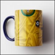 Caneca Brasil - Camisa Tri-Campeão Mundial 1970 - Porcelana 325ml