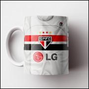 Caneca São Paulo FC - Camisa Branca - Tri-Campeão Mundial 2005 - Porcelana 325ml