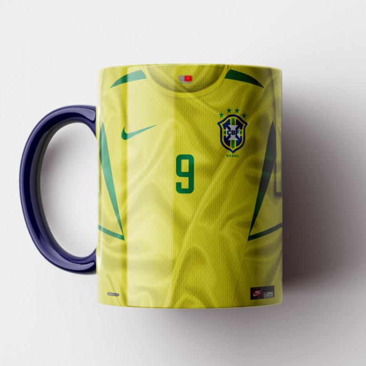 Caneca Brasil - Camisa Penta-Campeão Mundial 2002 - Porcelana 325ml