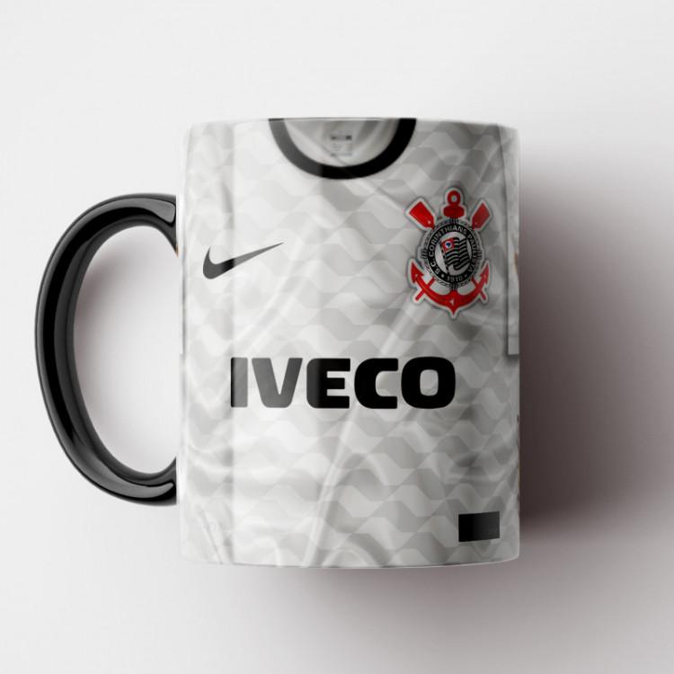 Caneca Corinthians - Camisa Branca - Campeão da Libertadores 2012 - Porcelana 325ml
